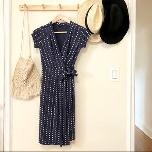 Ann Taylor polka dot wrap dress OP navy cream